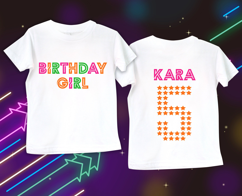 White Glow Shirt Blacklight Party Girlss Birthday Neon Pump It Up Glowparty