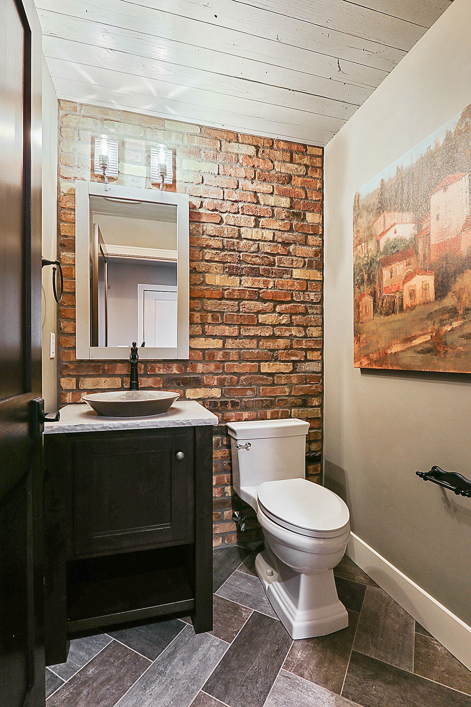Rustic Modern Powder Room with reclaimed brick accent wall ...