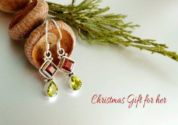 Garnet earrings, peridot, red jewelry mom, red gift wife, gemstone
