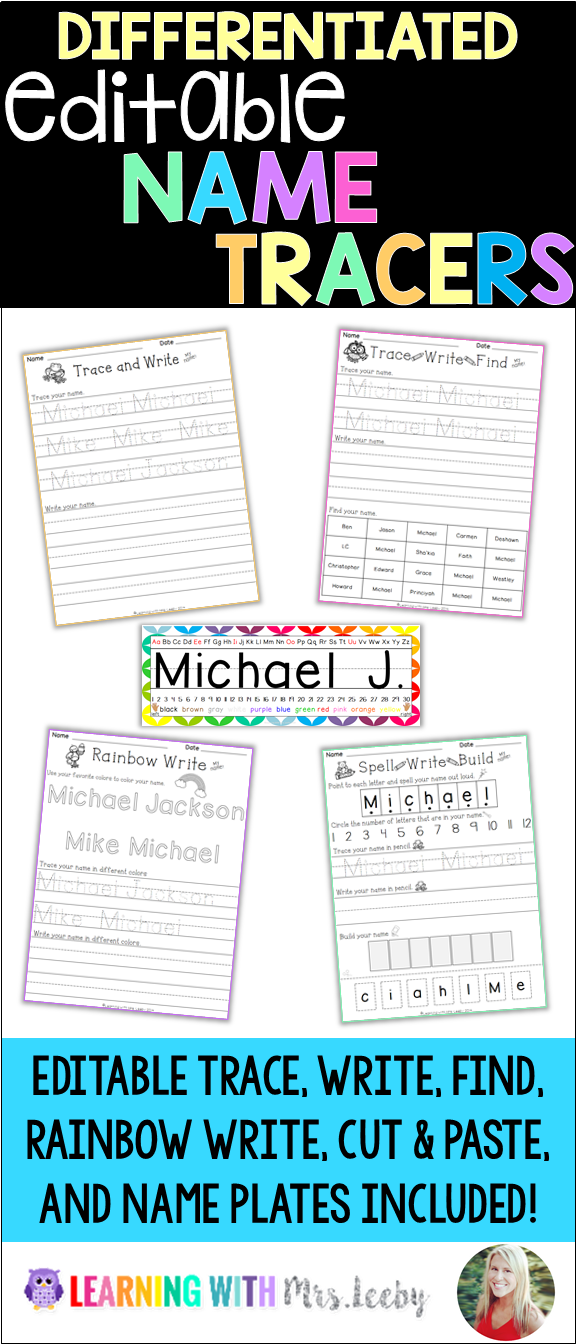 EDITABLE Name Tracers, Practice Activities, and Name Plates * What\'s ...