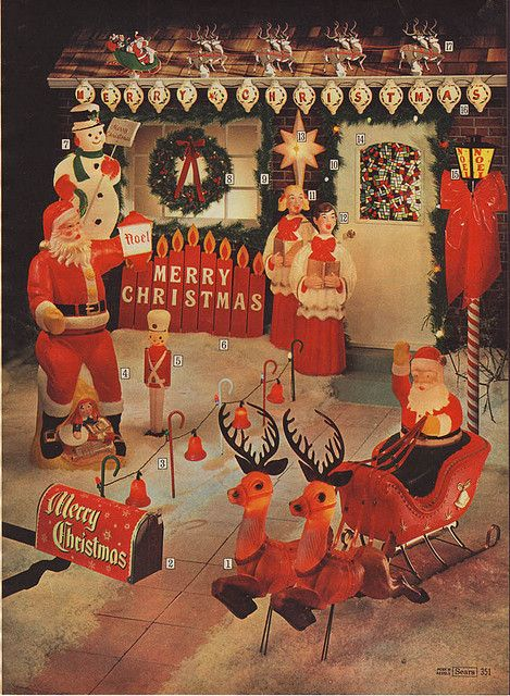 blowmold outdoor christmas decorations in the sears christmas catalog 1969