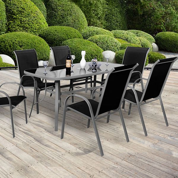 salon de jardin cordoba phoenix noir 6 chaises une table salons de jardin. Black Bedroom Furniture Sets. Home Design Ideas