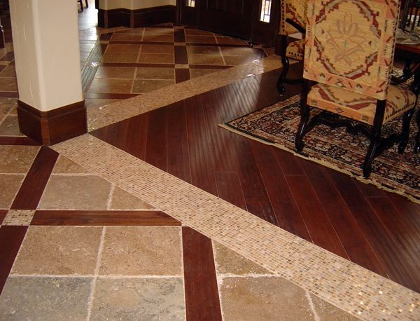 Stone And Hardwood Transition Flooring