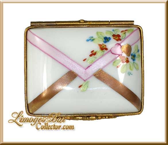 Floral Envelope with Hearts Limoges Box (Rochard).