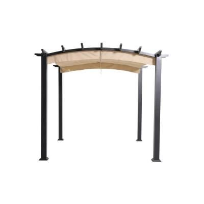 Sunjoy Alamo 10 Ft X 7 5 Ft Steel Arched Pergola With Natural Wood Looking And Tan Shade 169391 The Home Depot In 2020 Grill Gazebo Patio Garden Backyard