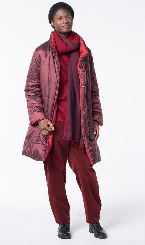 Reversible puffy coat in color Lava at OSKA New York.  129e018f4