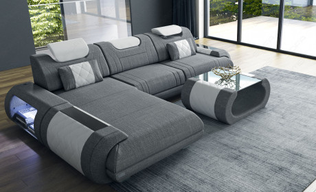 Fabric Sectional Sofa Ventura L Shape With Led Sofa Design