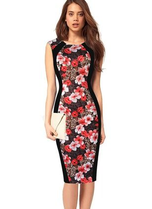 ... Elegant Ladies Wear To Work Package Hips Dress Online. Vestidos  Elegante Floral Altura do Joelho de Algodão Poliéster Sem magas b69816a98ef4