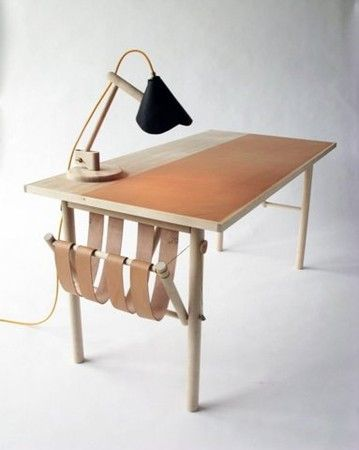 kitka design toronto oak desk leather inlay blotter leather magazine rack
