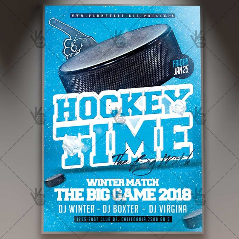 Hockey Time - Sport Flyer PSD Template #collage #collagesports - winter flyer template