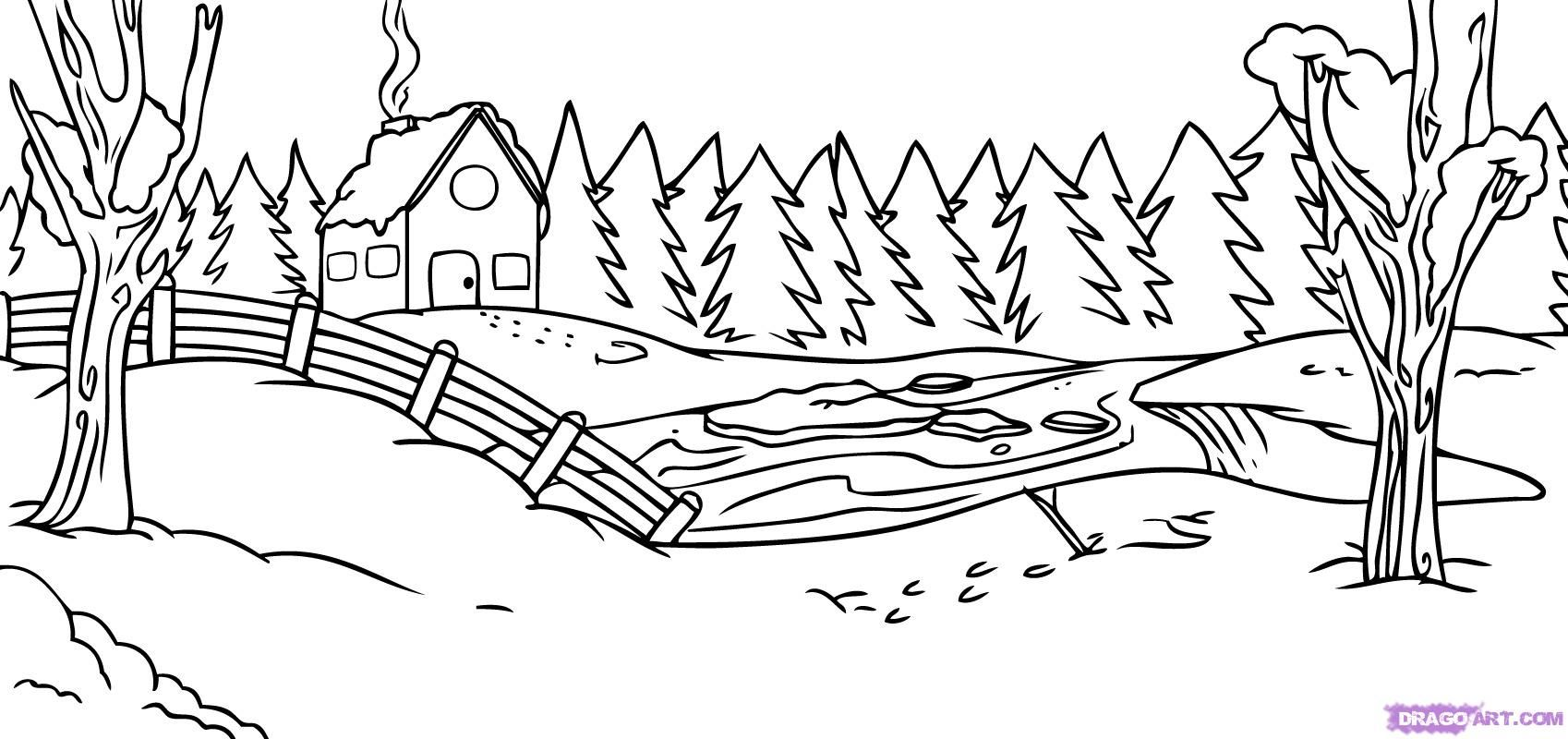 Winter Scene Template Coloring Pages Winter Free Coloring Pages Coloring Pages
