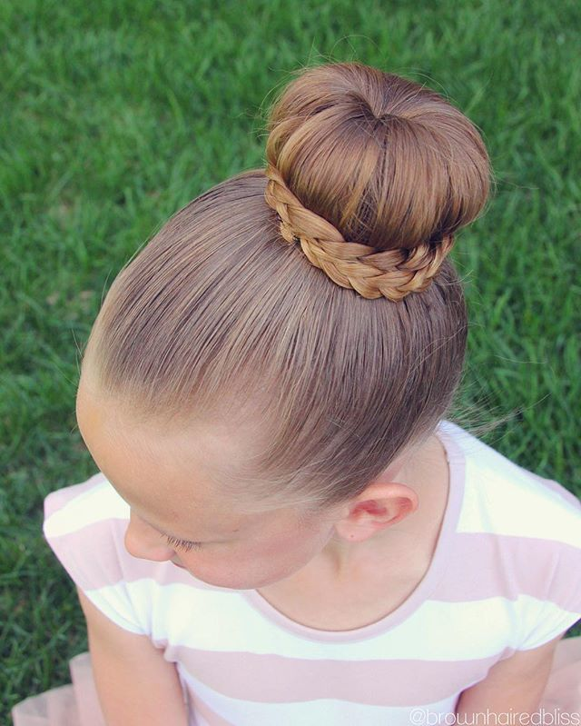 Bun With Braids Wrapped Around It. Such A Pretty Style