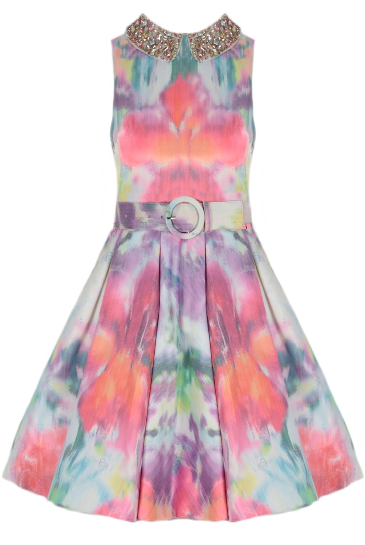 Oxygen | alice + olivia Lollie Pleated Skirt Embellished Dress ...