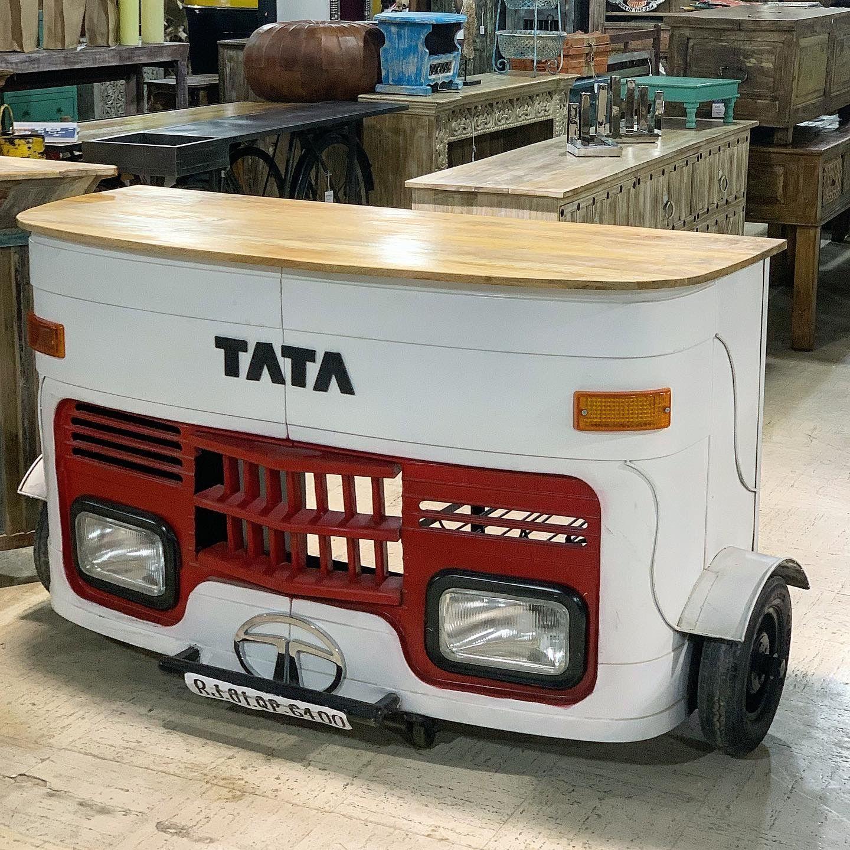Tata bar Item 510754 Measures: 63x27x40 Priced $760 - #tuktukbar #woodenbar #metalbar #miami #fortlauderdale #industrialdesign #industrialdecor #industrialfurniture #coolfurniture #rusticfurniture