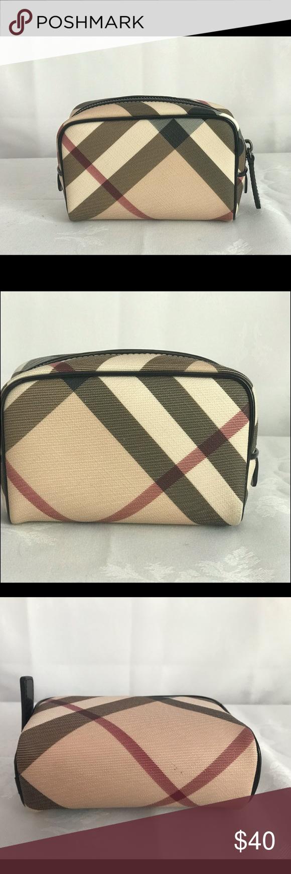 Burberry Tan Plaid Cosmetic Bag Cosmetic bag circa 2009
