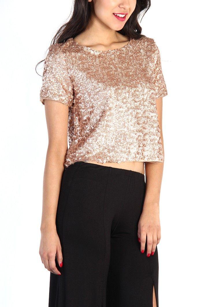 e28d1cc1e90 Jen Rose Gold Sequin Crop Top …   Fashion   Sequi…