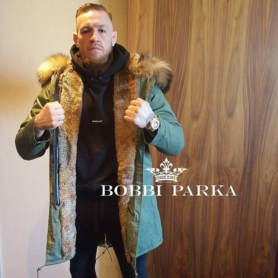 92bc1c223 As worn by Conor McGregor Mens Fur Collar Parka Jacket with Natural ...