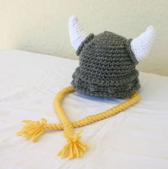 Viking baby hat with ties 0-3 month gray white yellow beanie ...