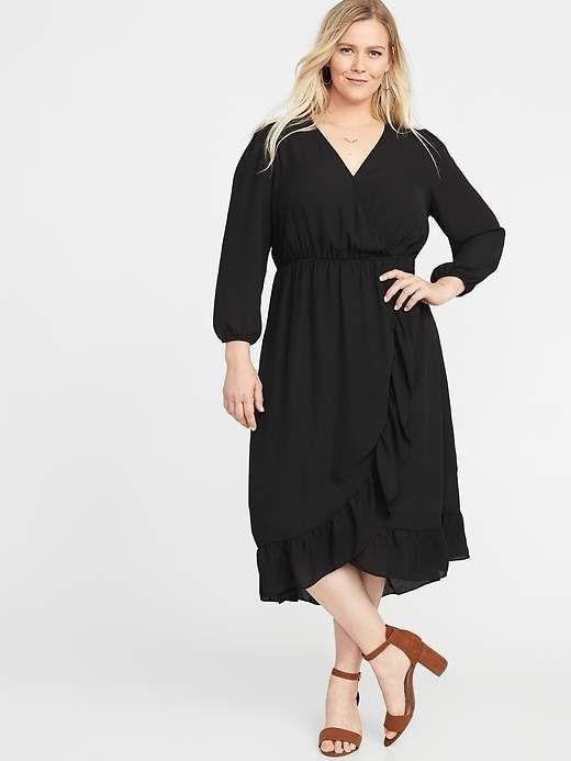 63fef261ba8 Old Navy Waist-Defined Plus-Size Faux-Wrap Georgette Dress ...