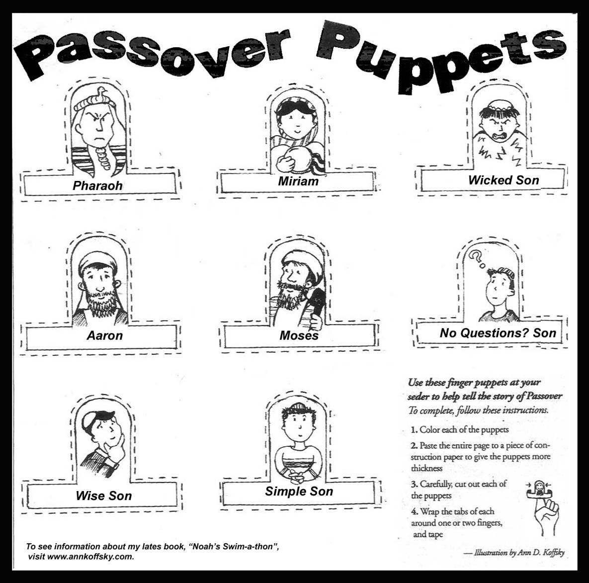 Passover Coloring Page Puppets Passover Crafts Passover