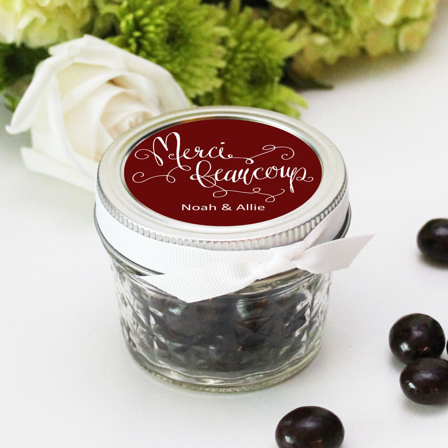 Set of 12 - 4 oz Mason Jar Wedding Favors - Merci Beaucoup Label ...