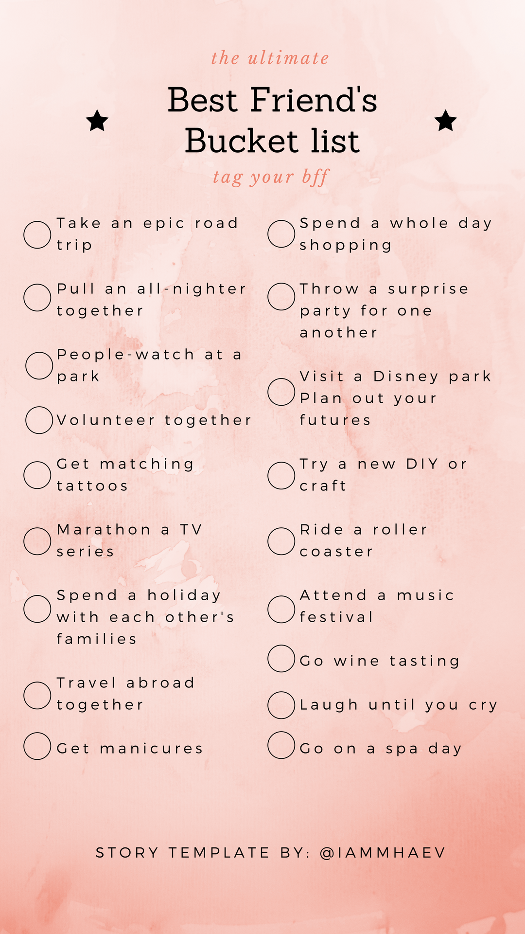 Best Friend's Bucket list Instagram Story Template #summerbucketlists