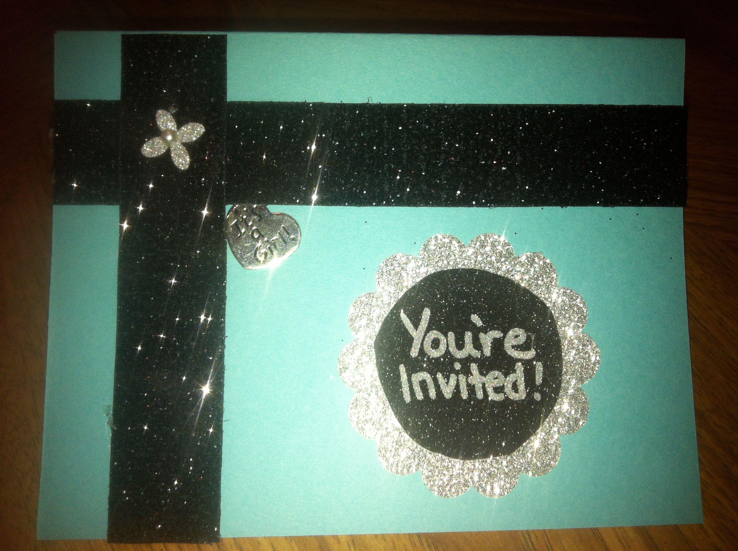 Tiffany blue & bling baby shower invitations | Breakfast at ...