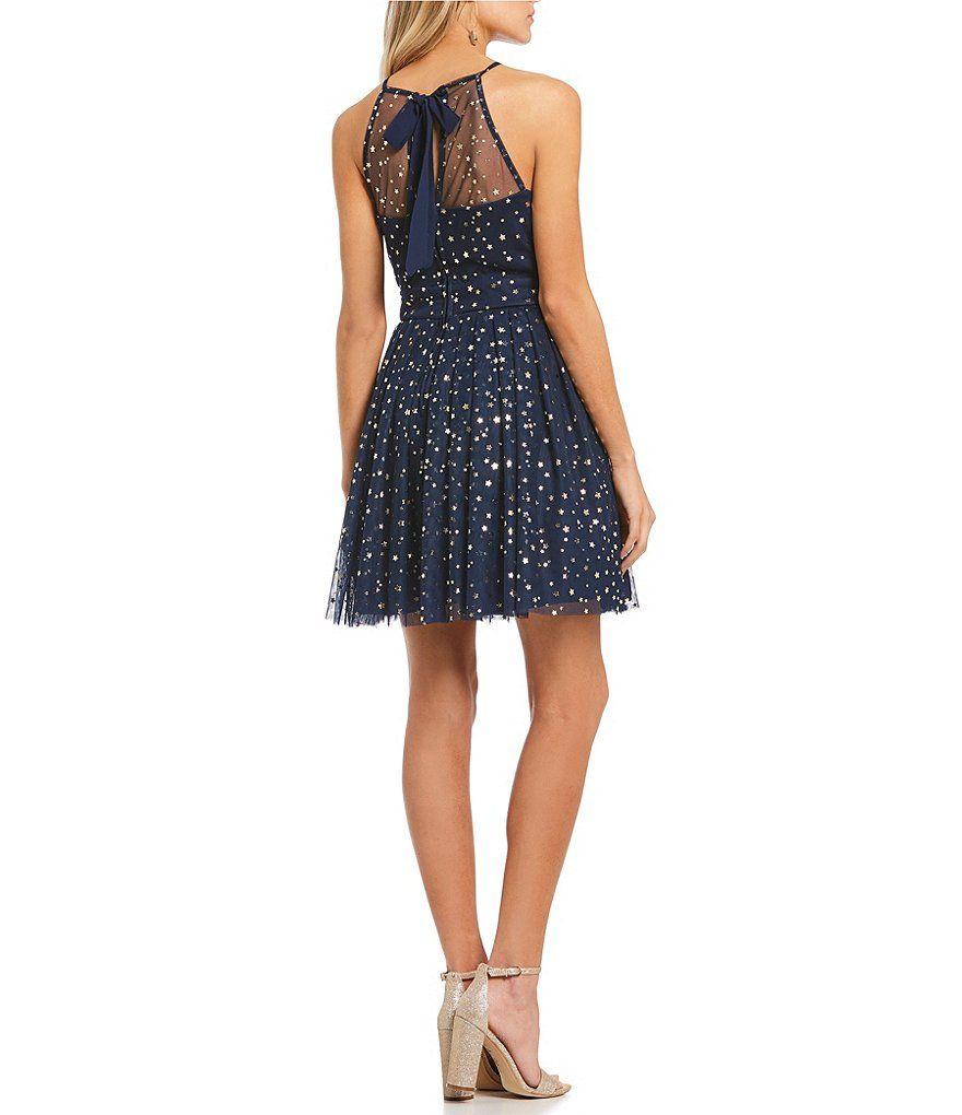 B darlin black lace dress  B Darlin Foiled Star FitandFlare Dress  Dillards Star and