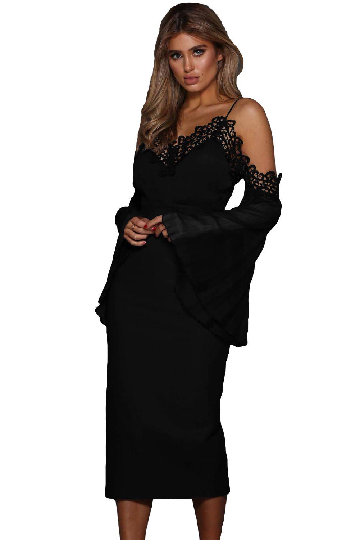 Black lacy boho bell sleeve chiffon midi dress evening
