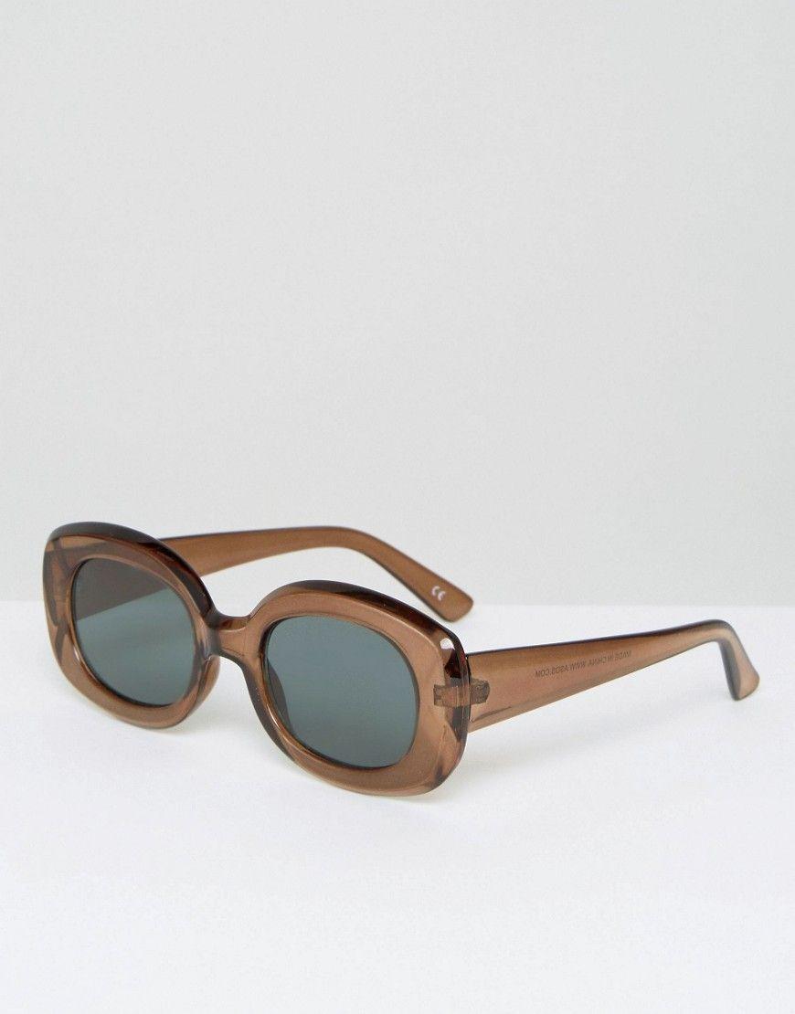 ae88def636e ASOS Square 90s Sunglasses - Brown