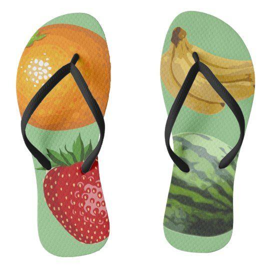 Tutti Frutti (big fruit) flip flops   Zazzle.com
