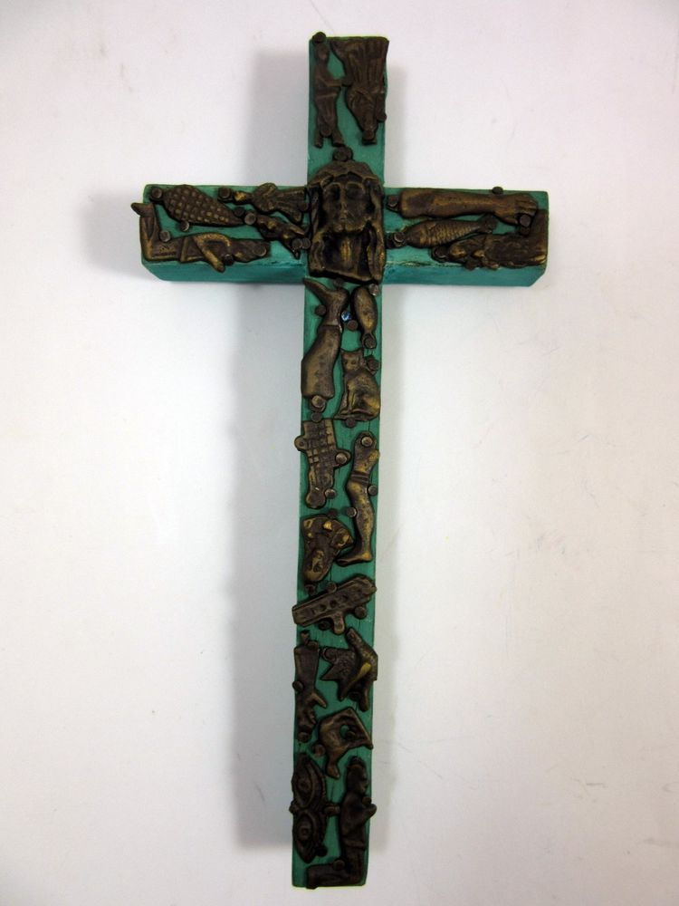 VTG Handmade Mexican Milagro Miracle Charm Ex-Voto Cross Crucifix Religious Art