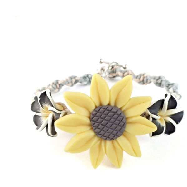 Sunflower Bracelet Sunflower Jewelry, Sunflower Charm Bracelet, Flower... ($19) ❤ liked on Polyvore