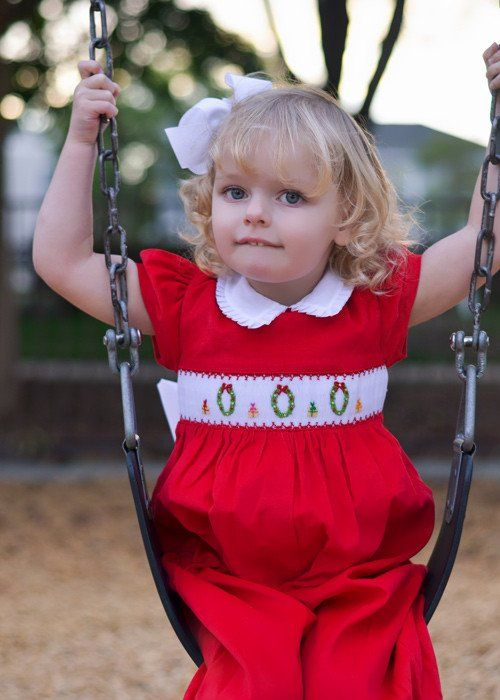 065c6fcf5168a Adorable Baby Girls Smocked Christmas Wreaths Red Jumper Overalls 6m ...