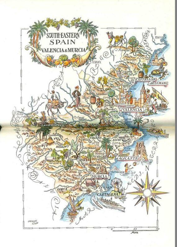 Southeast Spain Map / Valencia Spain / World Travel Print ...