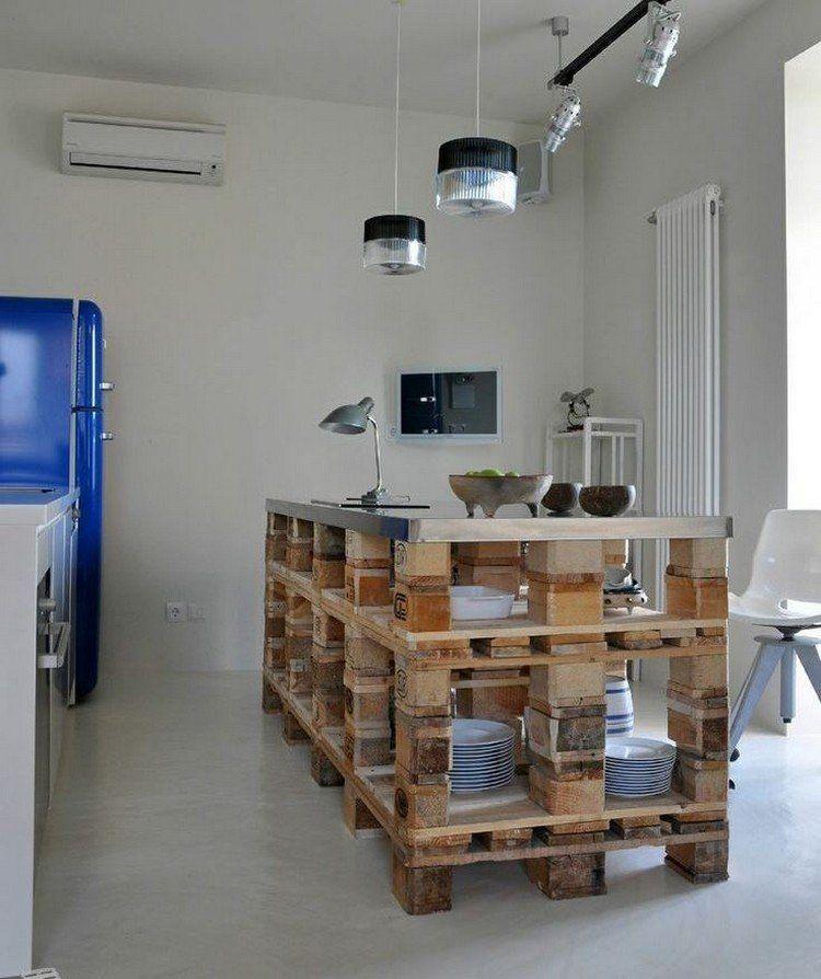 faire des meubles avec des palettes en bois  îlot de cuisine en