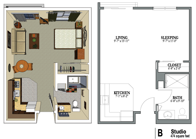 Studio studio floorplans pinterest studio for Efficiency apartment floor plans