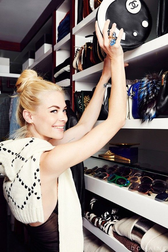 Exclusive: Jaime King Gets a Dream Closet Makeover via @domainehome. Small for glasses, medium for sweaters. Like the design of the pull out drawers