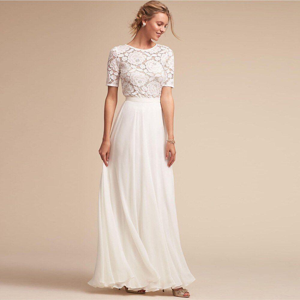 54336e599c2c0 Verngo Chiffon Elegant Bridal Dresses 2019 Lace A-line Cheap White ...