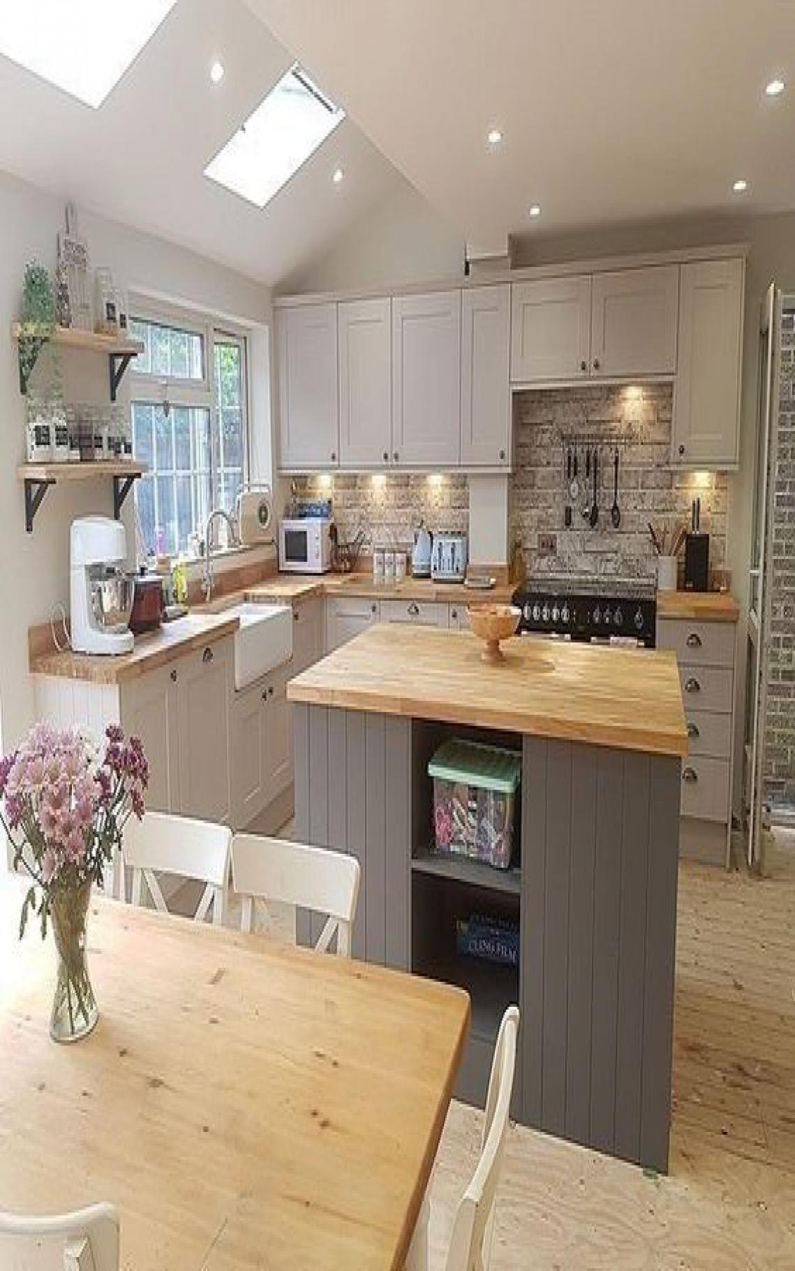 44 Genius Small Cottage Kitchen Design Ideas Decor In 2020 Small Cottage Kitchen Open Plan Kitchen Living Room Open Plan Kitchen Dining Living