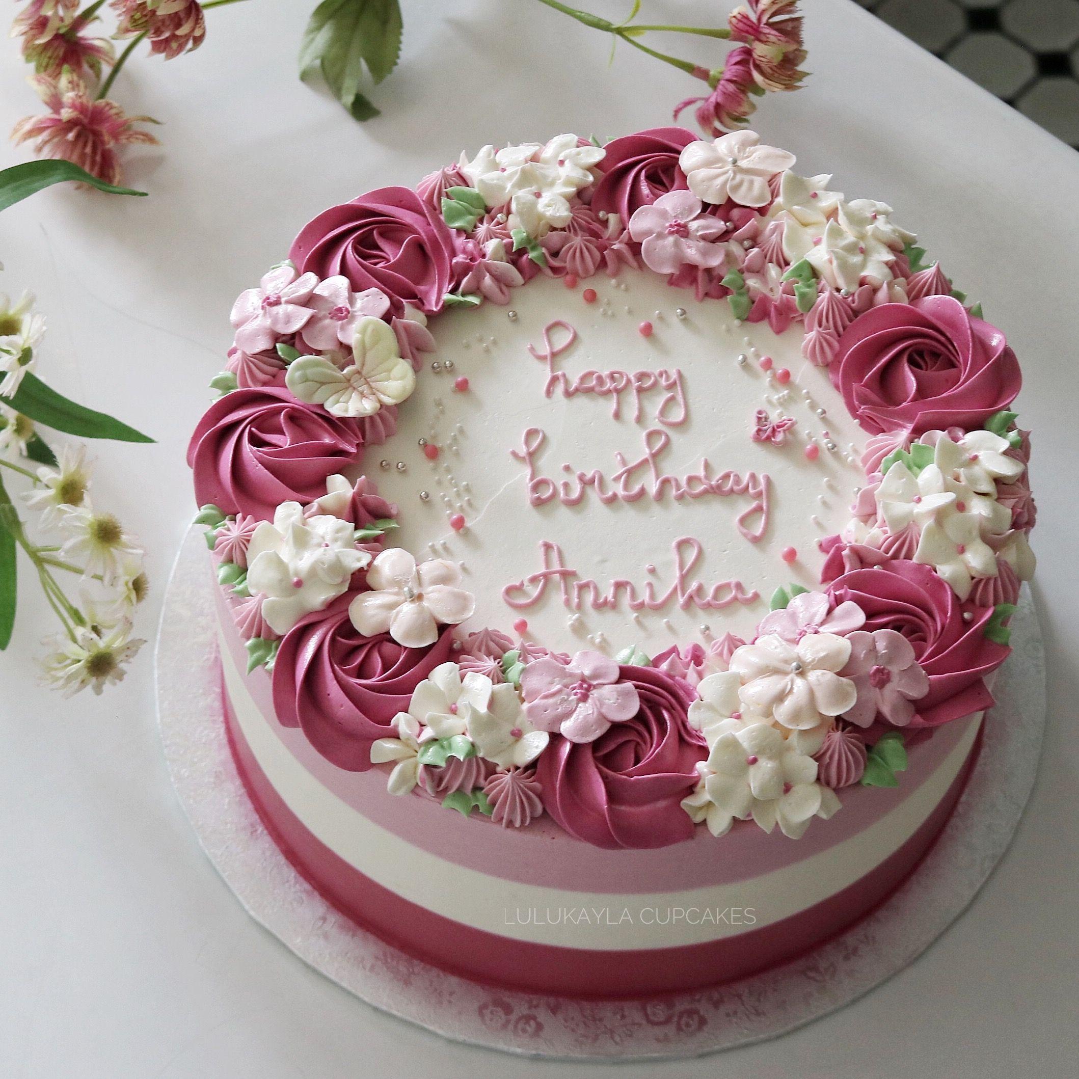 Stupendous Flower Buttercream Cake Housewarming Cake Round Birthday Cakes Funny Birthday Cards Online Hendilapandamsfinfo