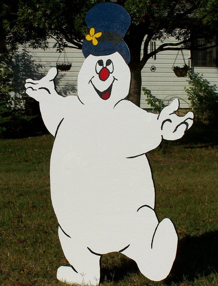 Frosty the snowman wood yard art decoration christmas Wooden outdoor christmas decorations