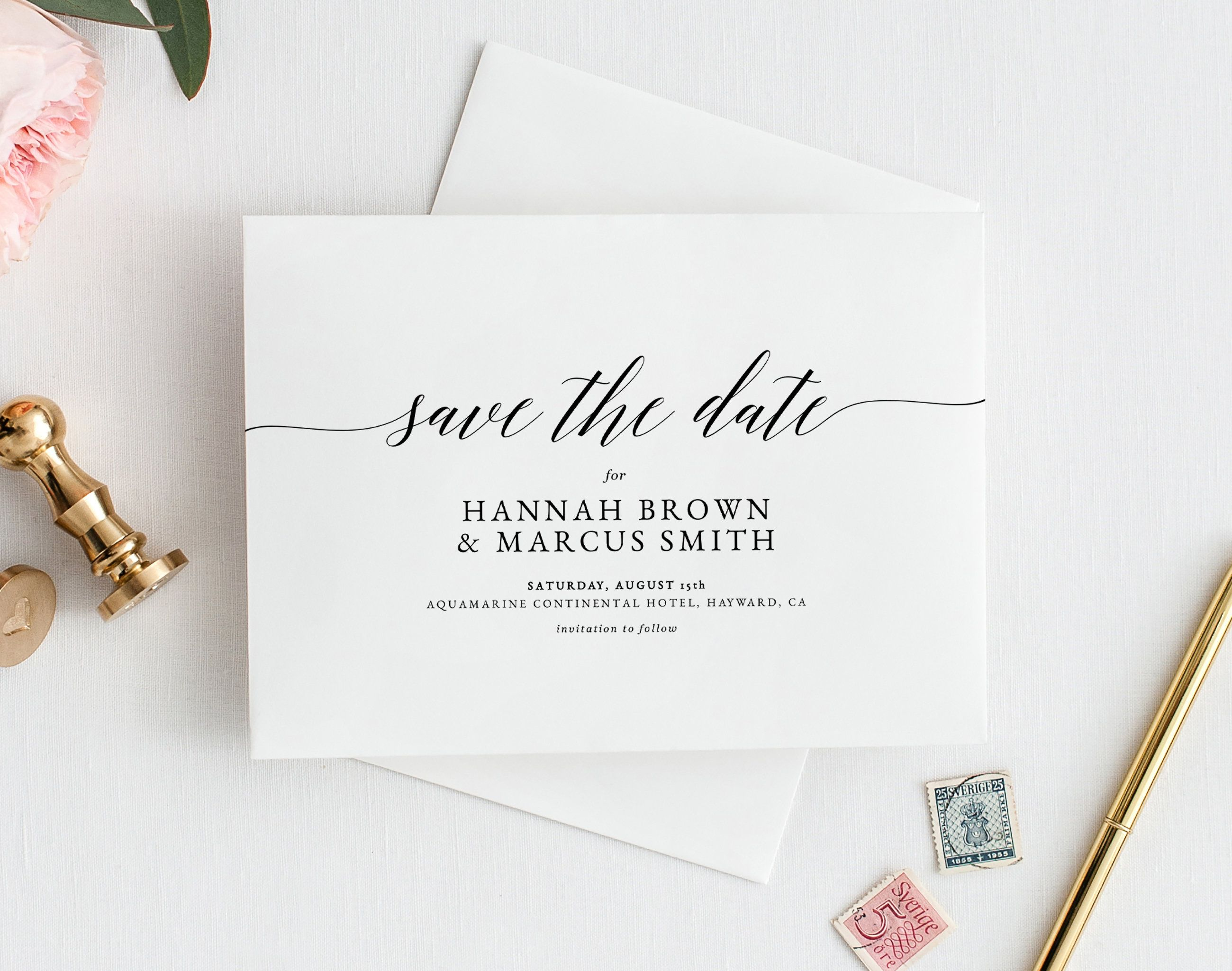 Calligraphy Save The Date Card Template Modern 100 Editable Etsy Calligraphy Save The Dates Save The Date Cards Save The Date Invitations