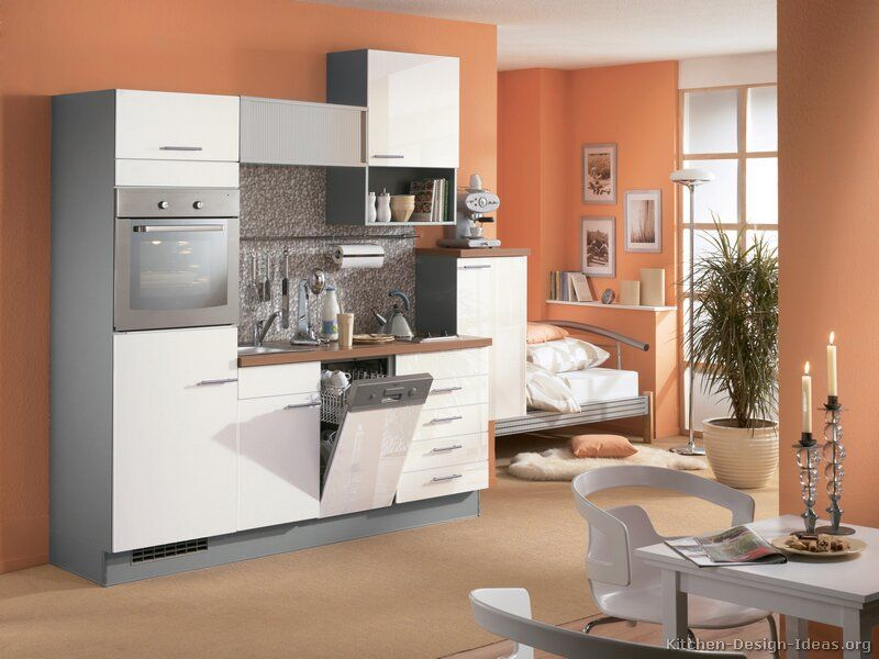 Kitchen idea of the day small modern white kitchen by for Peach kitchen ideas