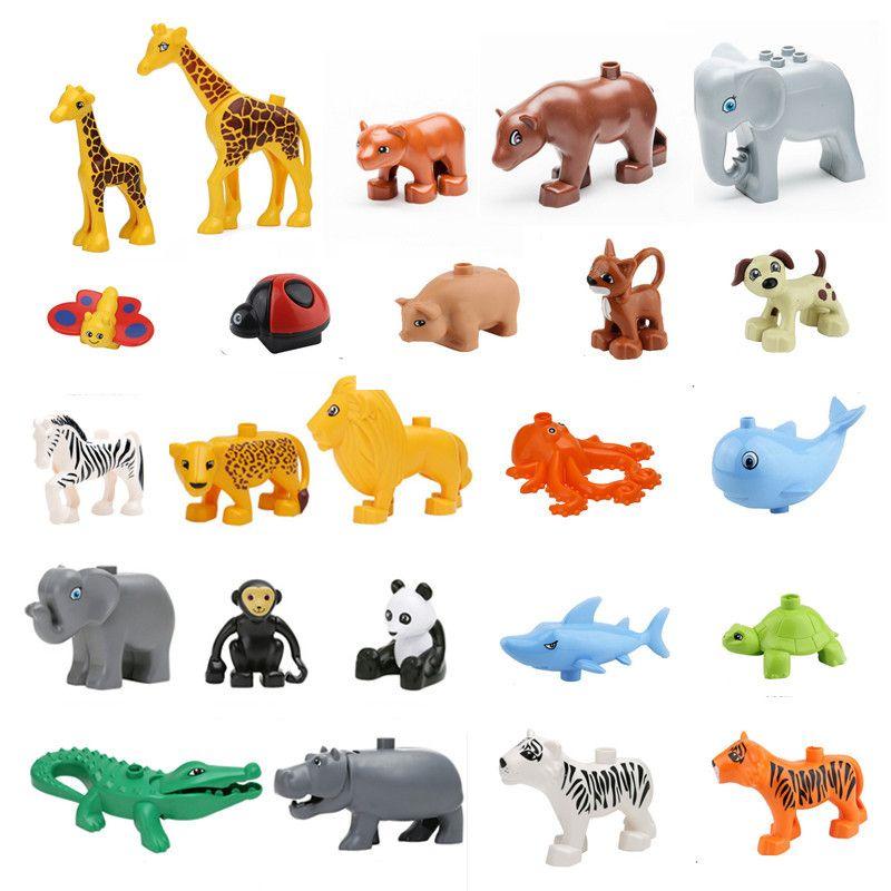 Animals Blocks Toys Compatible Duploed Giraffe Elephant Panda Lion