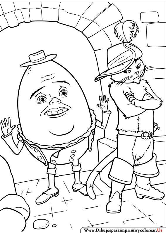 shrek puss in boots coloring pages | Dibujos de El Gato con botas para Imprimir y Colorear ...