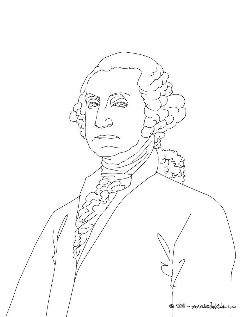 President GEORGE WASHINGTON coloring page Yankee Doodle Pinterest