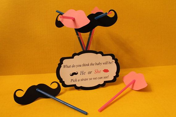 Mustache straws - gender reveal party, baby shower, baby reveal, baby boy, baby girl, little man  on Etsy, $24.00