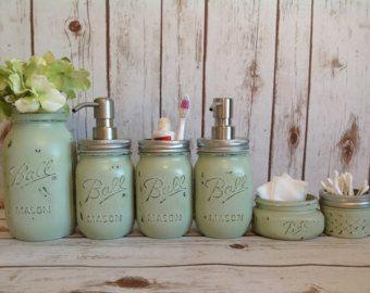 Mason Jar Home Decor Mason Jar Bathroom Kitbathroomfarmhouse Decorrustic Home