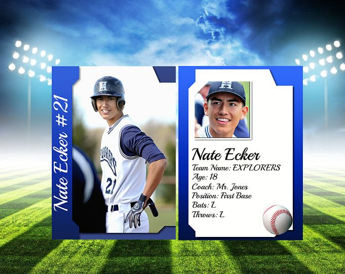 Sports Trading Card Template For Photoshop 2 5 X 3 5 Digital Trading Cards Fully Customizable Psd Files Sports T Trading Card Template Art Template Templates